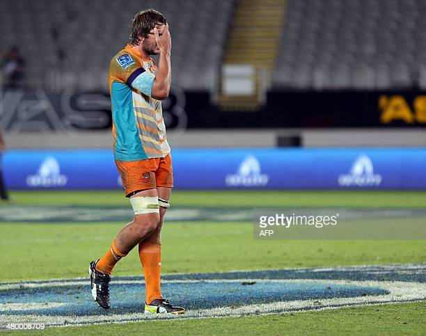 Central Cheetahs player Lodewyk de Jager reacts after losing the Super 15 rugby match between the Auckland Blues and Central Cheetahs at Eden Park in...