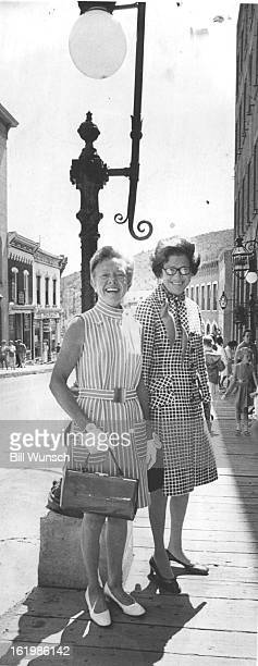 AUG 13 1969 AUG 28 1969 Central City is Setting for Social Gathering Mrs Wilbur Lakas left and Mrs Adolph Coors III arrive at Teller House for recent...