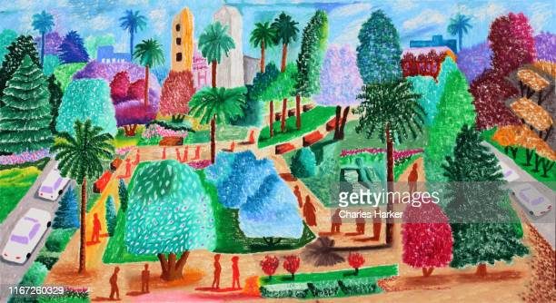 central city park plaza in sunny climate oil pastel illustration - colonial stock pictures, royalty-free photos & images