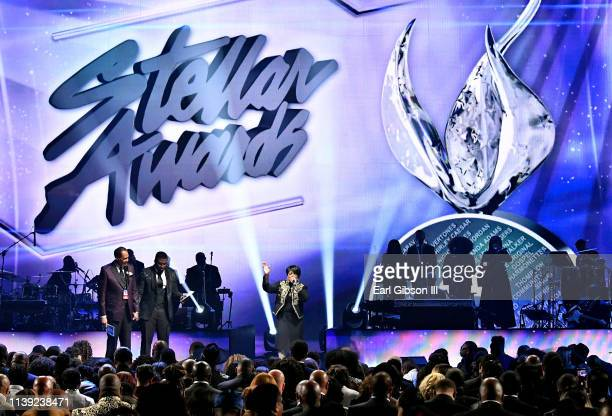 Central City Productions Chairman and CEO Don Jackson Akintunde and Shirley Caesar speak during the 34th annual Stellar Gospel Music Awards at the...
