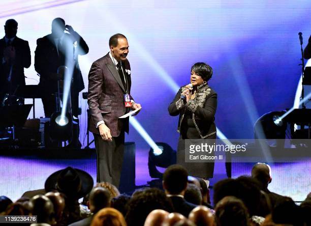 Central City Productions Chairman and CEO Don Jackson and Shirley Caesar speak during the 34th annual Stellar Gospel Music Awards at the Orleans...