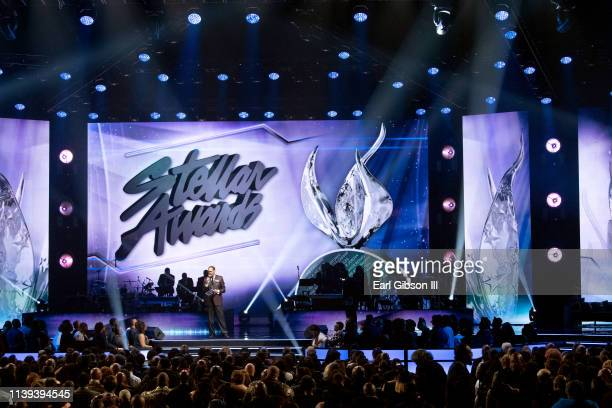Central City Productions Chairman and CEO Don Jackson speaks during the 34th annual Stellar Gospel Music Awards at the Orleans Arena on March 29 2019...