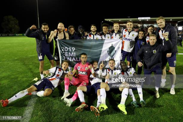Central Coast celebrate their win during the FFA Cup 2019 Quarter Finals match between Hume City FC and the Central Coast Mariners at ABD Stadium on...