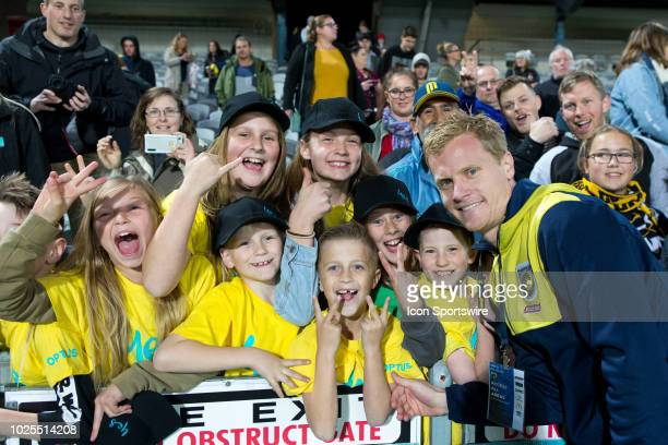 Central Coast Mariners player Matt Simon at The ALeague trial match between the Central Coast Mariners and Central Coast Selecton August 31 2018 at...