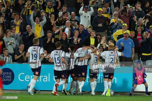 Central Coast Mariners players celebrate a goal during the FFA Cup 2019 Semi Final between the Central Coast Mariners and Adelaide United at Central...