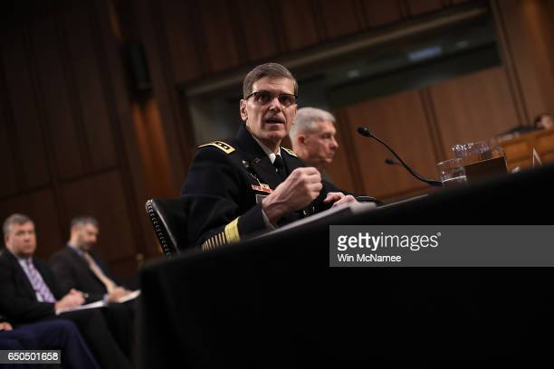 S Central Command Commander Army Gen Joseph Votel testfies before the Senate Armed Services Committee March 9 2017 in Washington DC Votel updated the...