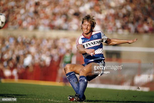 QPR central defender Steve Wicks in action during a First Division Match against Manchester United at Old Trafford on October 12 1985 in Manchester...