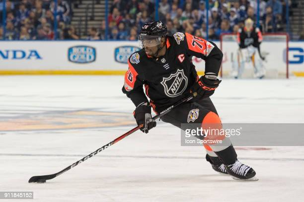 Central Division defender PK Subban looks for options during the first game of the NHL AllStar Game between the Pacific and Central Divisions on...