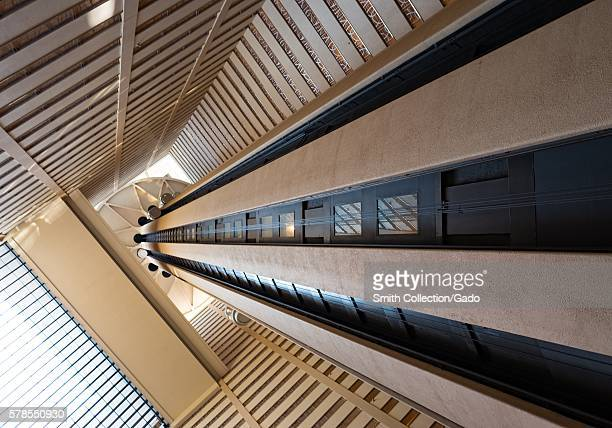 Central elevator tower in the Marriott Marquis hotel, Manhattan, New York City, New York, July, 2016. .