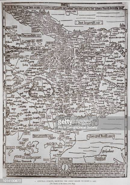 Central Europe showing the chief roads to Rome Map extends from Denmark to Italy and Paris to Cracow c 1492 In 'Six Early Printed Maps' Italy 1492