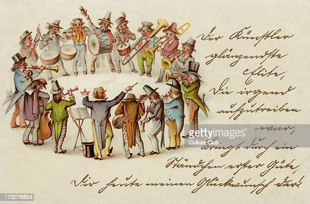 Central European folk band possibly Czech drums horns a bass cello guitar and triangle Illustration early 20th century