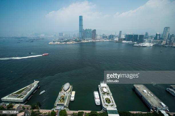 Central Ferry Piers are photographed as the International Commerce Centre in West Kowloon and Harbour City and Ocean Terminal in Tsim Sha Tsui are...