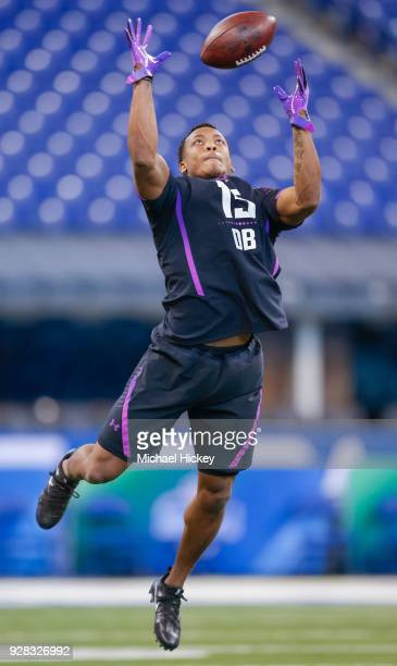 Central Florida defensive back Mike Hughes participates in a drill during the NFL Scouting Combine at Lucas Oil Stadium on March 5 2018 in...
