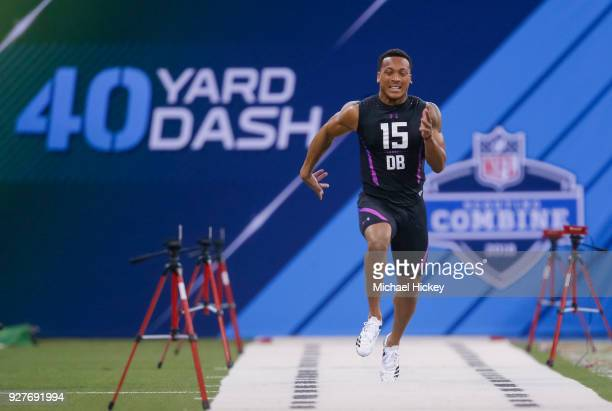 Central Florida defensive back Mike Hughes runs the 40 yard dash during the NFL Scouting Combine at Lucas Oil Stadium on March 5, 2018 in...