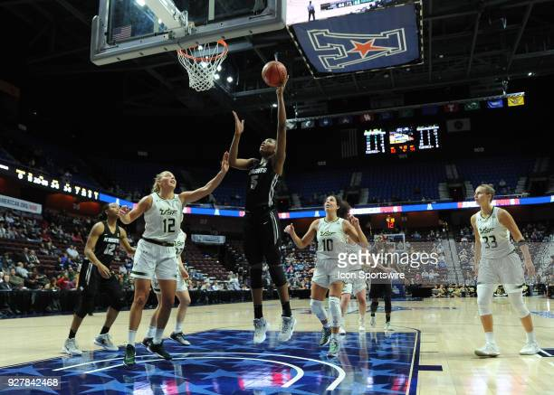 Central Florida Knights Forward Masseny Kaba shoots in the post during the game as the South Florida Bulls take on the Central Florida Knights on...
