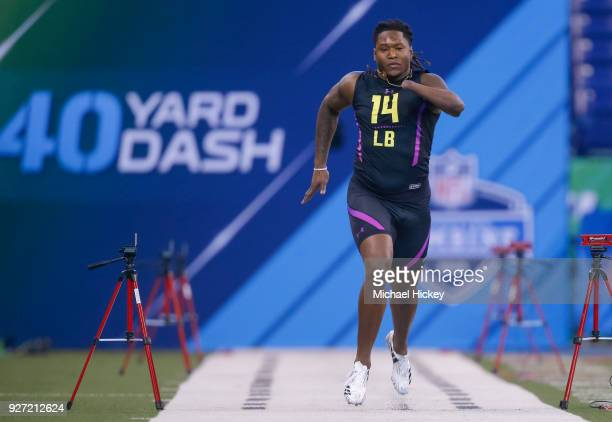 Central Florida linebacker Shaq Griffin runs in the 40 yard dash at the NFL Scouting Combine at Lucas Oil Stadium on March 4 2018 in Indianapolis...