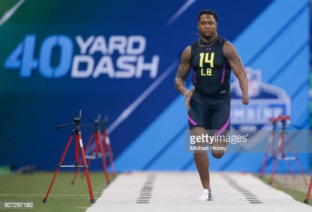 Central Florida linebacker Shaq Griffin runs in the 40 yard dash during the NFL Scouting Combine at Lucas Oil Stadium on March 4 2018 in Indianapolis...