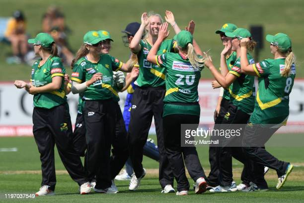 Central Hinds players celebrate during the Dream11 Super Smash match between Central Hinds and the Otago Sparks at McLean Park on January 02, 2020 in...
