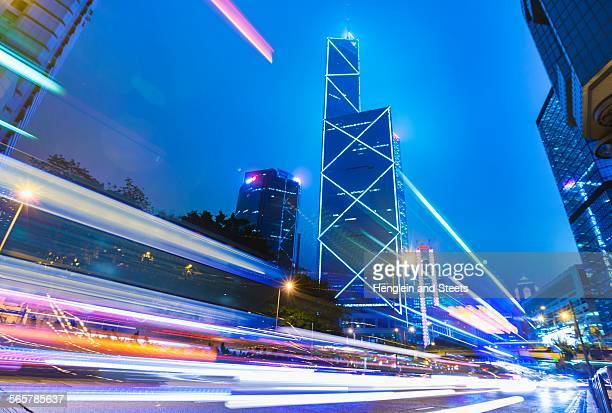 Central Hong Kong business district: skyline with Bank of China building and light trails at dusk, Hong Kong, China