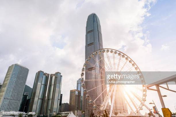 central, hong kong ferris wheel - two international finance center stock pictures, royalty-free photos & images