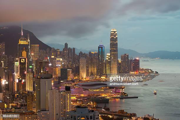 Central Hong Kong Island Skyline in twilight
