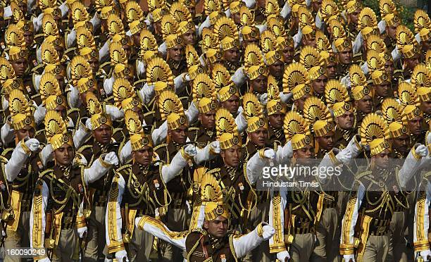Central Industrial Security Force Soldier marching contingents during the 64th Republic Day parade celebration at Raj path on January 26 2013 in New...