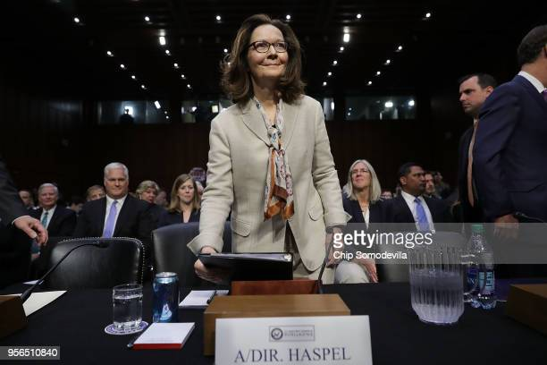 Central Intelligence Agency acting Director Gina Haspel prepares to testify before the Senate Intelligence Committee during her confirmation hearing...