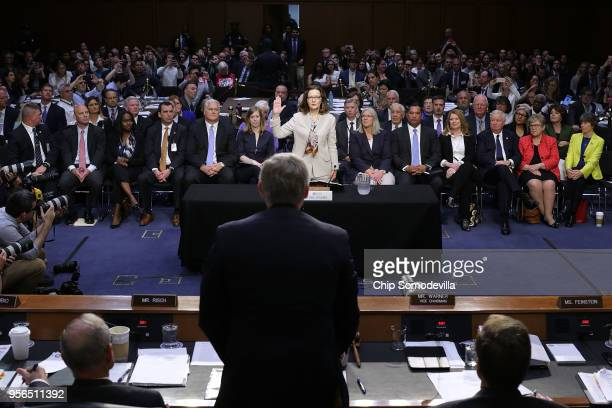 Central Intelligence Agency Deputy Director Gina Haspel is sworn in before the Senate Intelligence Committee during her confirmation hearing to...
