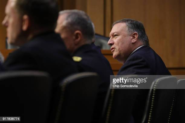 Central Intelligence Agency Director Mike Pompeo and fellow intelligence officials testify before the Senate Intelligence Committee in the Hart...