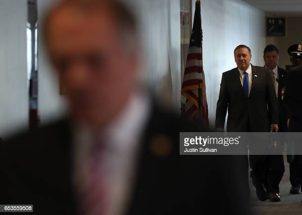 Central Intelligence Agency Director Mike Pompeo arrives at a Senate Select Intelligence Committee closed hearing at the Hart Senate Office Building...