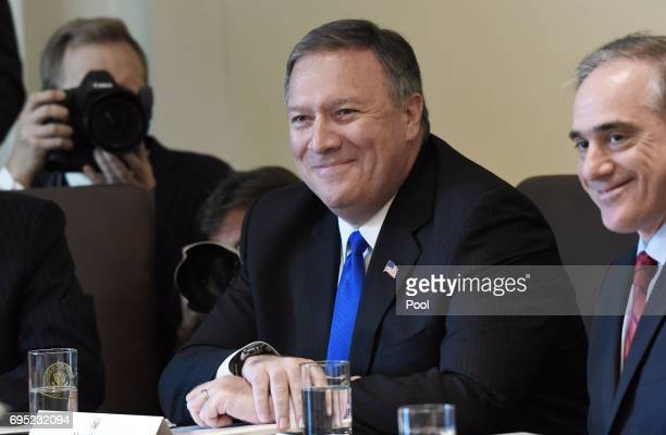 Central Intelligence Agency Director Mike Pompeo attends a meeting in the Cabinet Room of the White House June 12 2017 in Washington DC Also in...