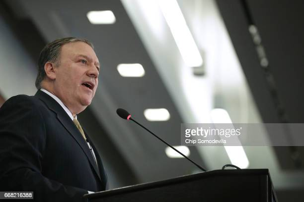 Central Intelligence Agency Director Mike Pompeo delivers remarks at The Center for Strategic and International Studies April 13 2017 in Washington...