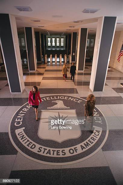 Central Intelligence Agency symbol in the entry hall of a CIA building