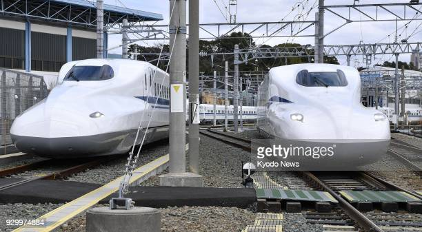 Central Japan Railway Co's new bullet train N700S is shown to the press in Hamamatsu Shizuoka Prefecture central Japan on March 10 2018 Seen next to...