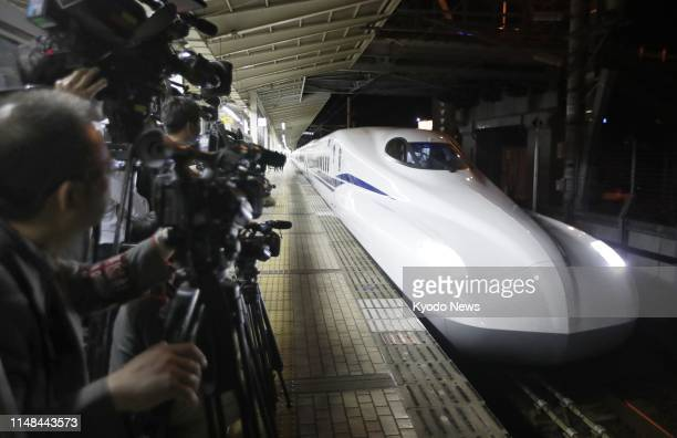 Central Japan Railway Co's new N700S shinkansen bullet train is pictured at JR Maibara Station in Shiga Prefecture western Japan before its fifth...
