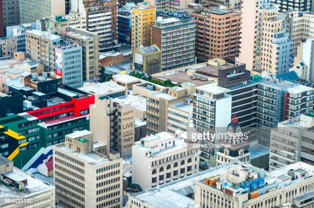 central johannesburg cityscape from the top of the carlton centre, johannesburg, south africa - gauteng province stock pictures, royalty-free photos & images