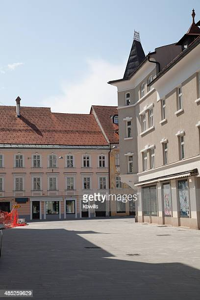 central Kranj shops and architecture in Slovenia summer