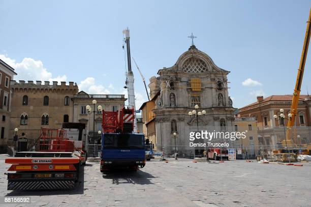 Central L'Aquila were crews are securing buildings and cleaning up after the 6.3 magnitude earthquake that struck the Abruzzo region on April 6, 2009...