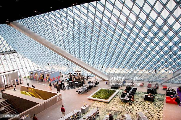 Central Library interior, latticed glass roof.