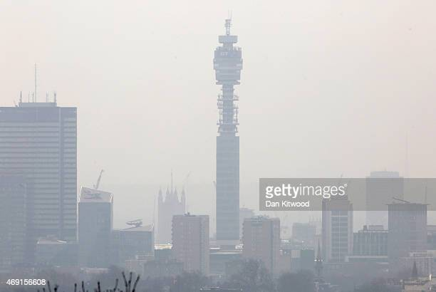 Central London appears covered in smog seen from Hampstead Heath on April 10 2015 in London England Air pollution and smog has blanketed much of...