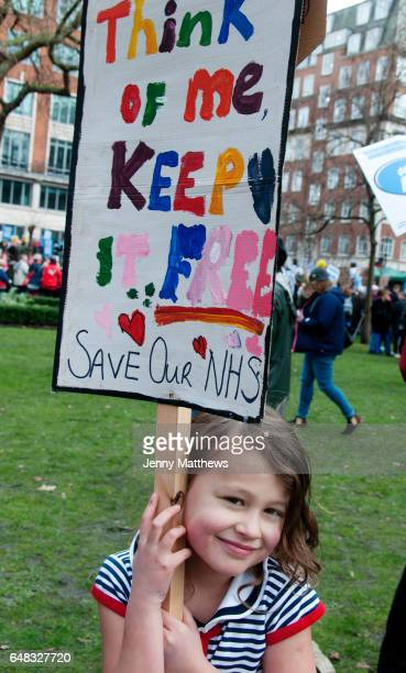 Central London March 4th 2017 Tens of thousands of health workers activists and members of the public protested against austerity and cuts in the NHS...