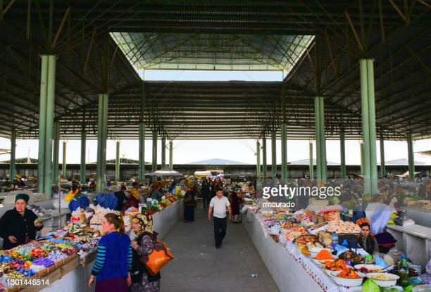 central market, bayramaly, mary region, turkmenistan - turkmen culture stock pictures, royalty-free photos & images