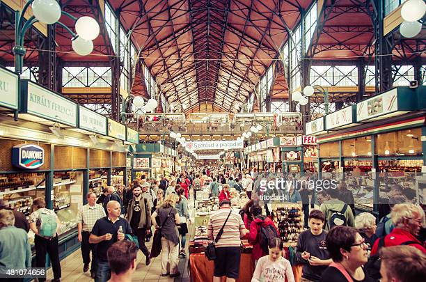 central market hall (nagy vasarcsarnok) - budapest, hungary - budapest stock pictures, royalty-free photos & images