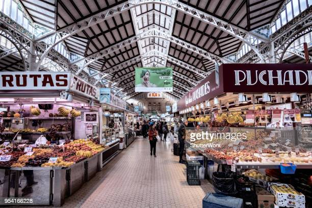 central market - indoor food market in valencia spain - alicante stock pictures, royalty-free photos & images