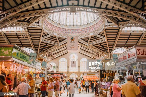 central market, valencia, spain - valencia spain stock pictures, royalty-free photos & images