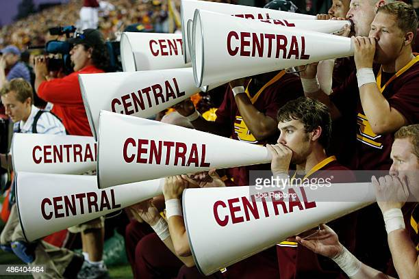 Central Michigan Chippewas cheerleaders are seen in the first half of the game against the Oklahoma State Cowboys at Kelly/Shorts Stadium on...