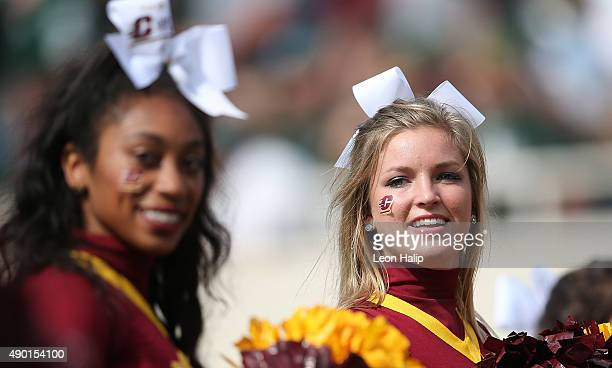 Central Michigan Chippewas cheerleaders entertain the fans during the game against the Michigan State Spartans on September 26 2015 at Spartan...
