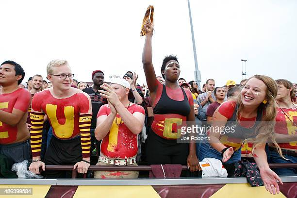 Central Michigan Chippewas fans cheer in the first half of the game against the Oklahoma State Cowboys at Kelly/Shorts Stadium on September 3 2015 in...