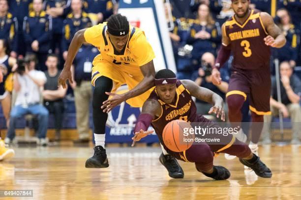 Central Michigan Chippewas G Braylon Rayson dives for a loose ball by Kent State Golden Flashes G Jaylin Walker during the first half of the MAC...