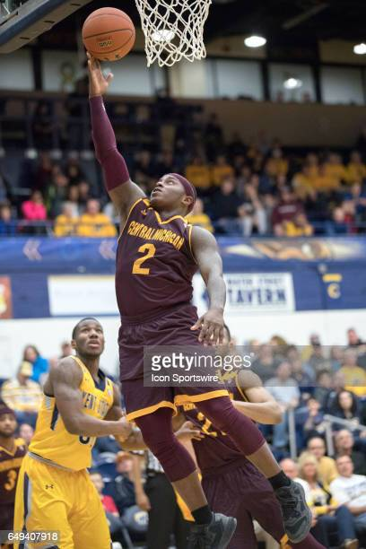 Central Michigan Chippewas G Braylon Rayson scores with a layup during the first half of the MAC men's basketball tournament game between the Central...